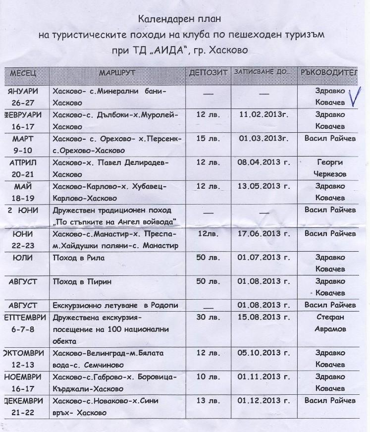 програма на походите през 2013